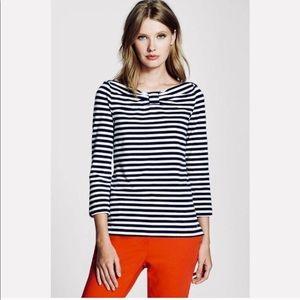 Kate Spade Navy Blue Striped Long Sleeve Top